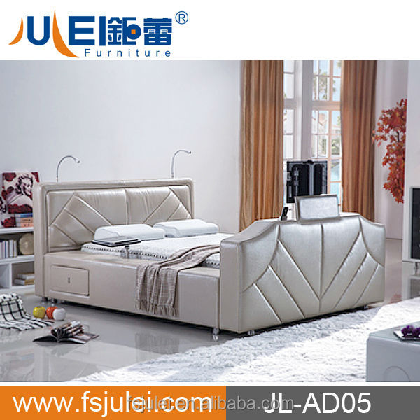 luxury furniture king size leather bed with tv in footboard