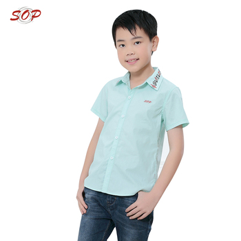 Short sleeve kids blouse button down shirts top cotton linen fashion boys summer shirt