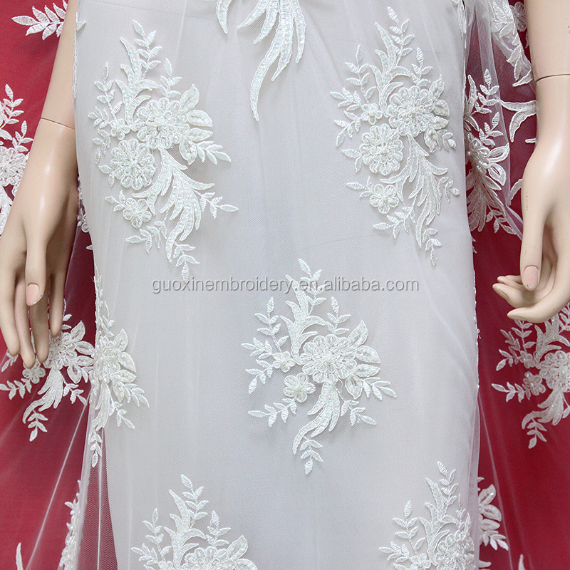 2018 fashion latest lace design for ladies wedding dresses with heavy handwork fabric embroidery