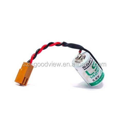 SAFT LS14250 Lithium Battery 1/2AA 3.6V 1200mAh with 2-pin Plug for PLC