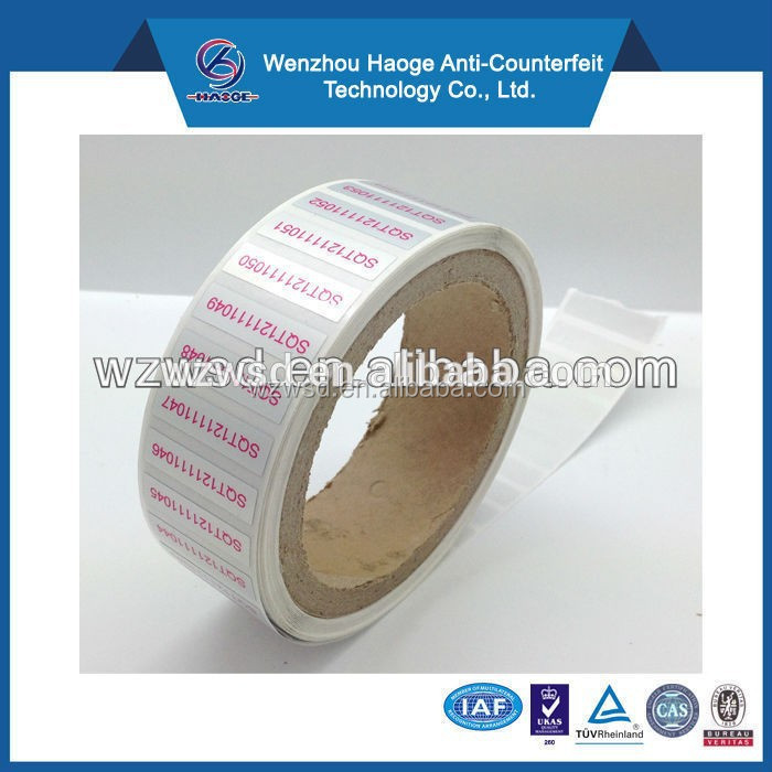 Variable data digital printing easy peal off sticker