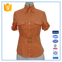 Women Clothing New Blouse Front Neck Design With Belt