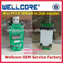 China Cheap Wholesale Mini Pci-e Wireless To Usb Adapter Card With Sim Card Slot Test Module ----From Wellcore Manufacturer !