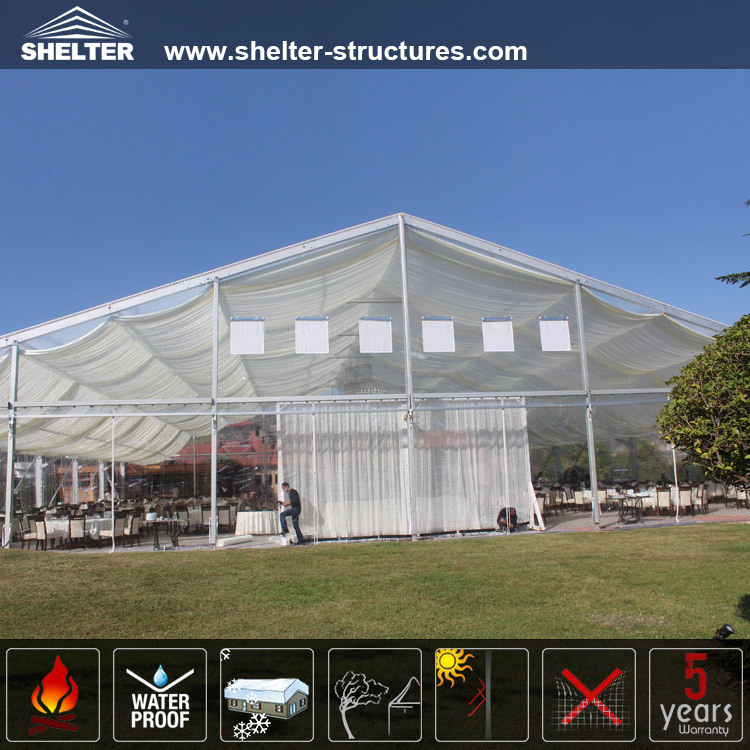 clear pvc fabric shelter structures tents with beautiful lining decoration for party events