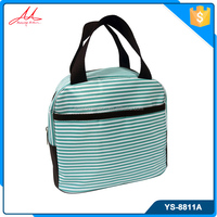 Latest microfiber strip pattern korean style fashion lady handbag