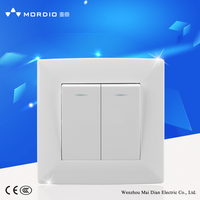 Mordio 2 gang 1 way wall switch with indicator