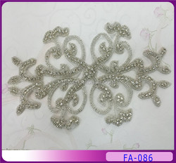 Fashion acrylic silver customized beaded applique patch FA-086
