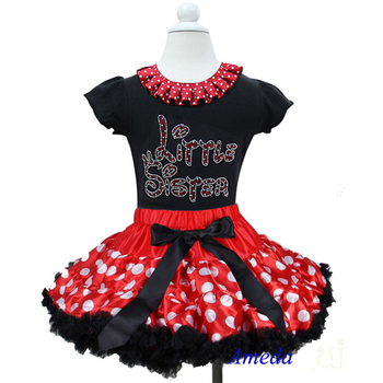 Red Polka Dots Pettiskirt with Red Polka Dots Collar Bling Rhinestone Red Little Sister Black Short Sleeves Top 1-7Y
