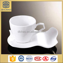 Unique shape cheap ceramic cup and saucer with custom logo