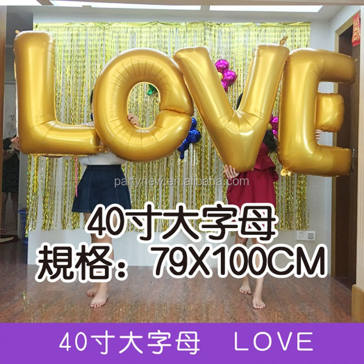 Giant romantic wedding decoration letter individual foil balloon 40 inch alphabet foil balloon