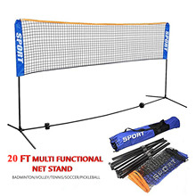 Amazon Hot Sale 6 M Height Adjustable Folding Custom Backyard Sports Badminton/tennis/pickle Net Stand With Steel Pipe