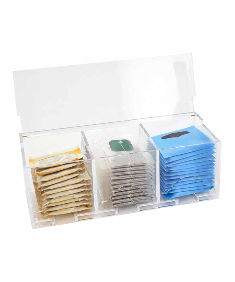 3 compartments clear acrylic condiment/tea bag storage box
