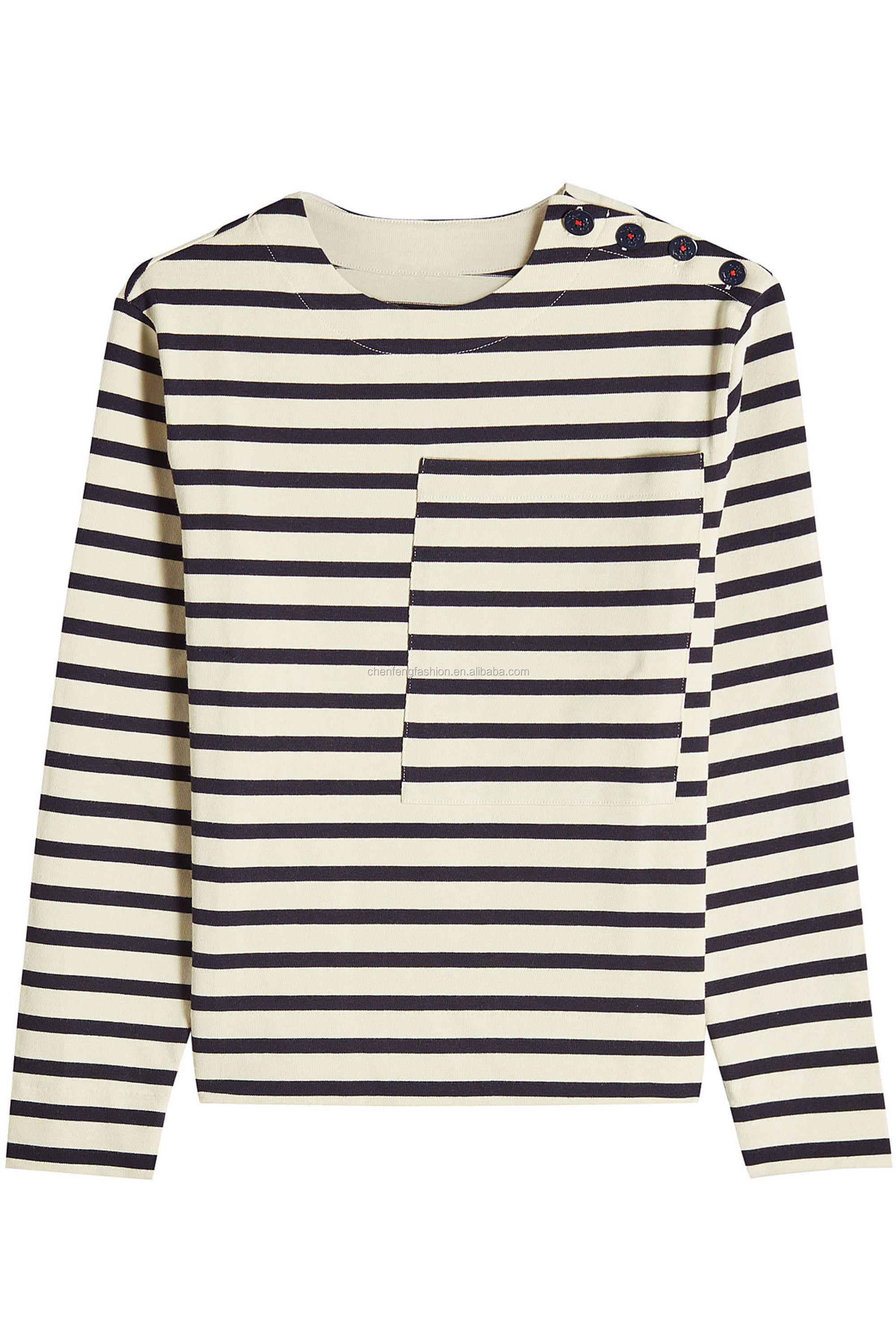 Scoop Neck Long Sleeves Striped Knitted 100% Cotton Women Top