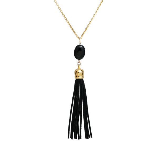 Obsidian Sweater Necklace Long Gold Plated Black Tassel Oval 72cm long - 71cm long