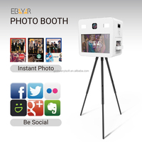 "Free Stand Social Media Photo Booths 22"" Touch Screen LED Instant Photo Printer Kiosk"