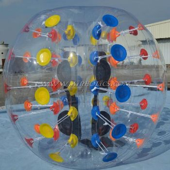 High quality football games yellow dots inflatable human bubble balls/bumper football/loopy soccer W7011