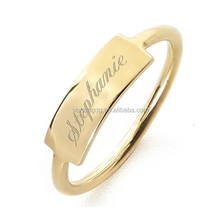 High Polished Stainless Steel Engravable Bar Ring In Gold Vermeil