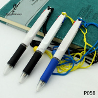 Cheap advertising lanyard plastic ball pen with 2 color ink stationery