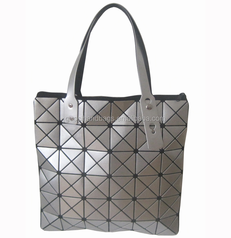 Geometric Fold Rhombus Reflective Stitching Top Handle Handbags Shoulder bag With Big Capacity