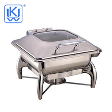 Stainless Steel square food warmer chafing dish with glass lid