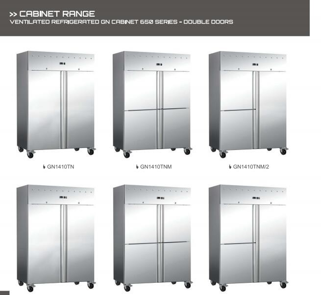 catering /restaurant/buffet equipment, double door stainless steel kitchen refrigerator , GN cabinet