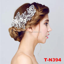 New fashion silver plated floral wedding bridal leaf hair clip for women
