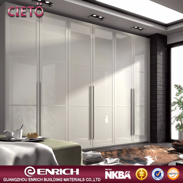 High quality 2017 modern high gloss finished wooden hinged door wardorbe almirah designs in bedroom wall