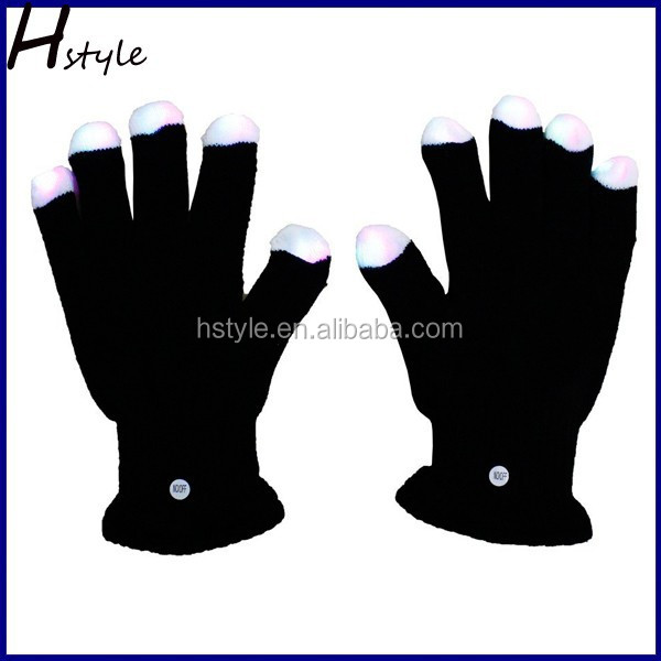 Black led glowing gloves with led lights SL019
