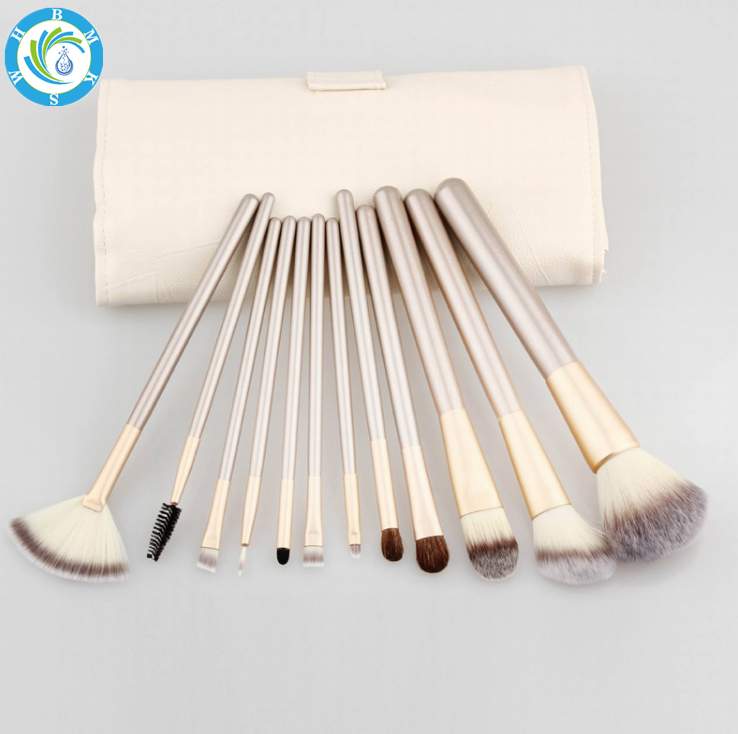 12/18/24pcs Rice white Makeup brush Champagne brush handle Makeup brush set