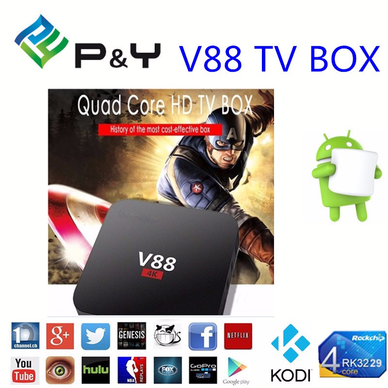 Ott tv box RK3229 Quad Core V88 dvb s2 android google TV box