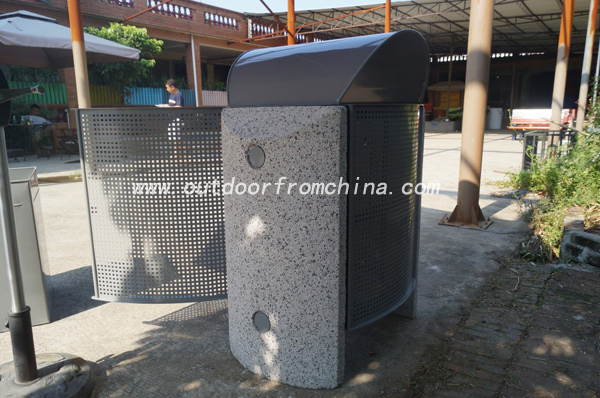 Solid wood steel frame high quality outdoor dustbin/ litter bin/ trash bin/ trash can/ street litter bin/street furniture