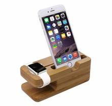 Bamboo Wood Charging Dock Charge Station Stock Cradle Holder for Apple Watch 38mm and 42mm & iPhone