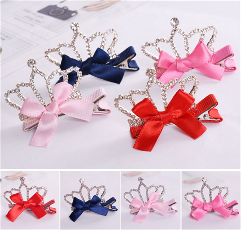 Princess rhinestone diamond crowns and ribbon hair bow clips for girl accessories
