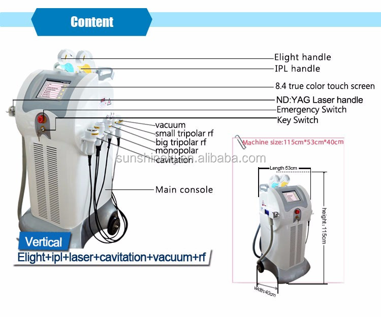 Multifunction 8 in 1 elight ipl cavitation nd yag laser photo dynamic therapy
