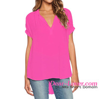 Rosy V Neck Short Sleeve Oversize Chiffon ladies blouses and tops