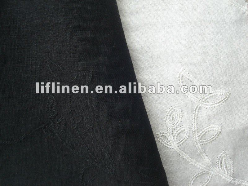 embroidered white linen fabric