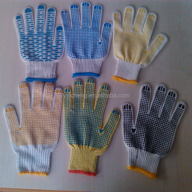 pvc dotted working glove/canvas glove with black pvc dots