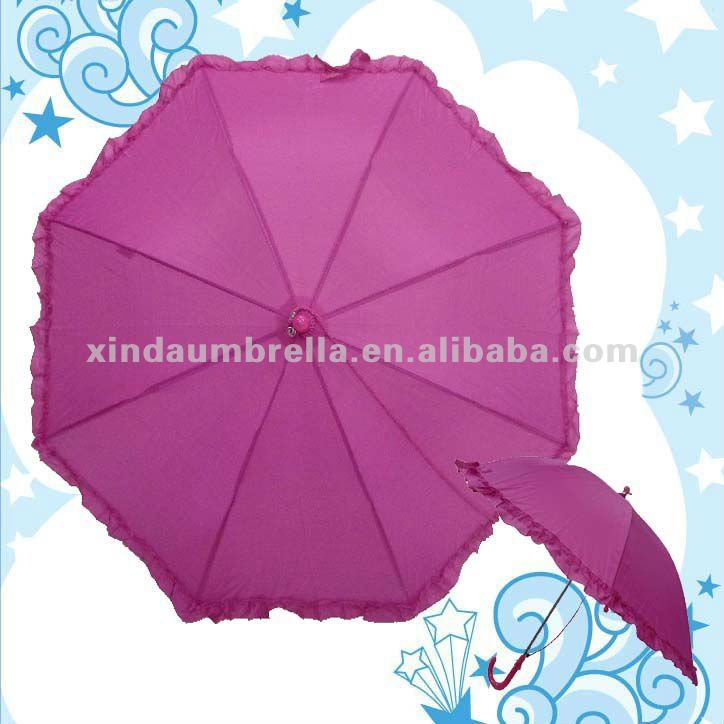 Quality Pretty Girl Polyester Solid Color Pink Children Frill Umbrella