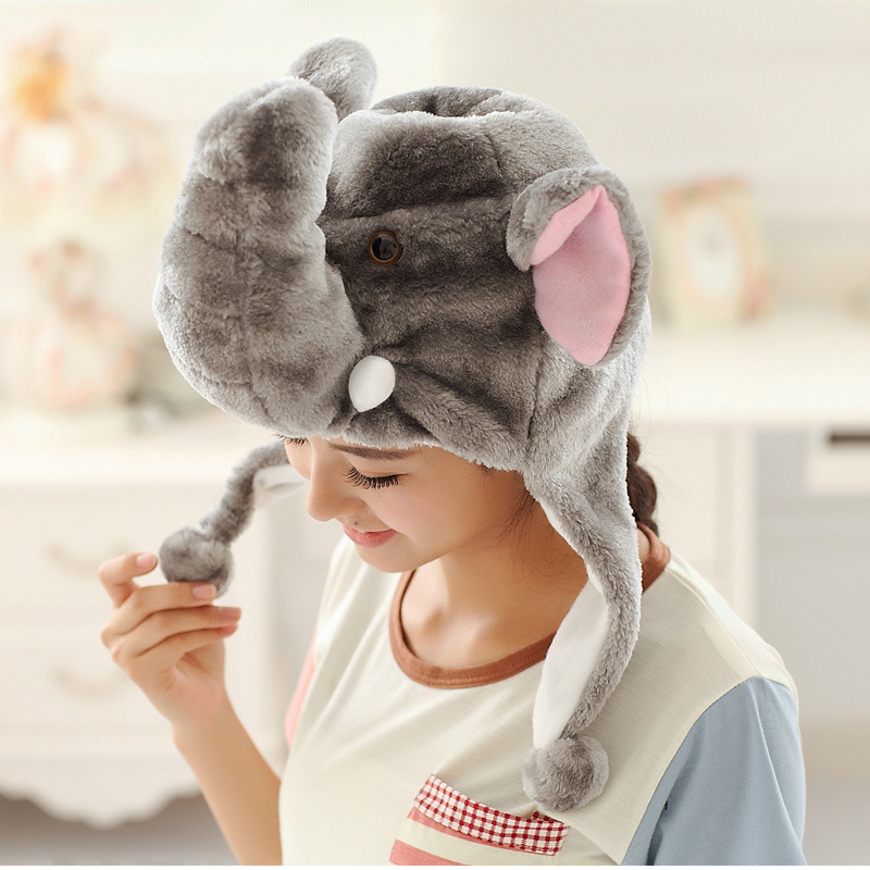 new style cheap animal beanie earflap hat funny winter warm elephant hat
