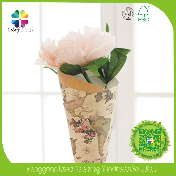 Elegant Cheap Fancy Printed Glossy Lamination Fresh Flower Wrapping Paper