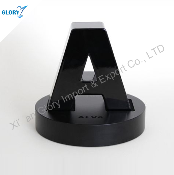 new design A letter black crystal art trophy award