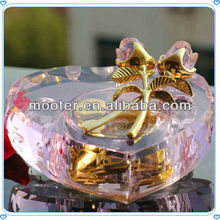 Golden Pink Crystal Rose Flower Music Box For 2015 Weddings