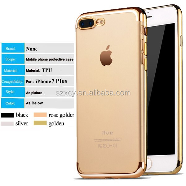 electroplating bumper clear transparent phone price back cover soft TPU silicone mobile phone case for iphone 7 plus