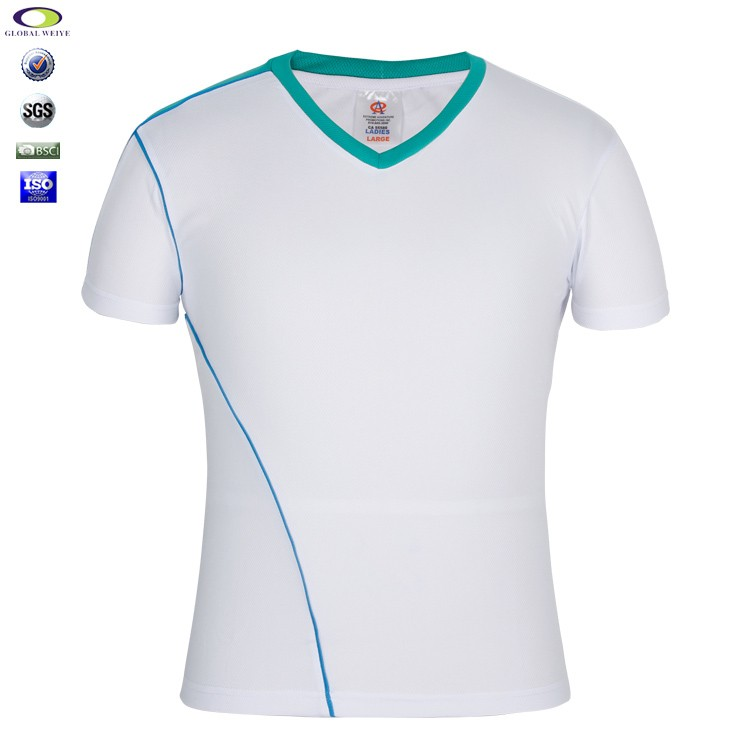 High quality v-neck white gym top tee t-shirts wholesale for men