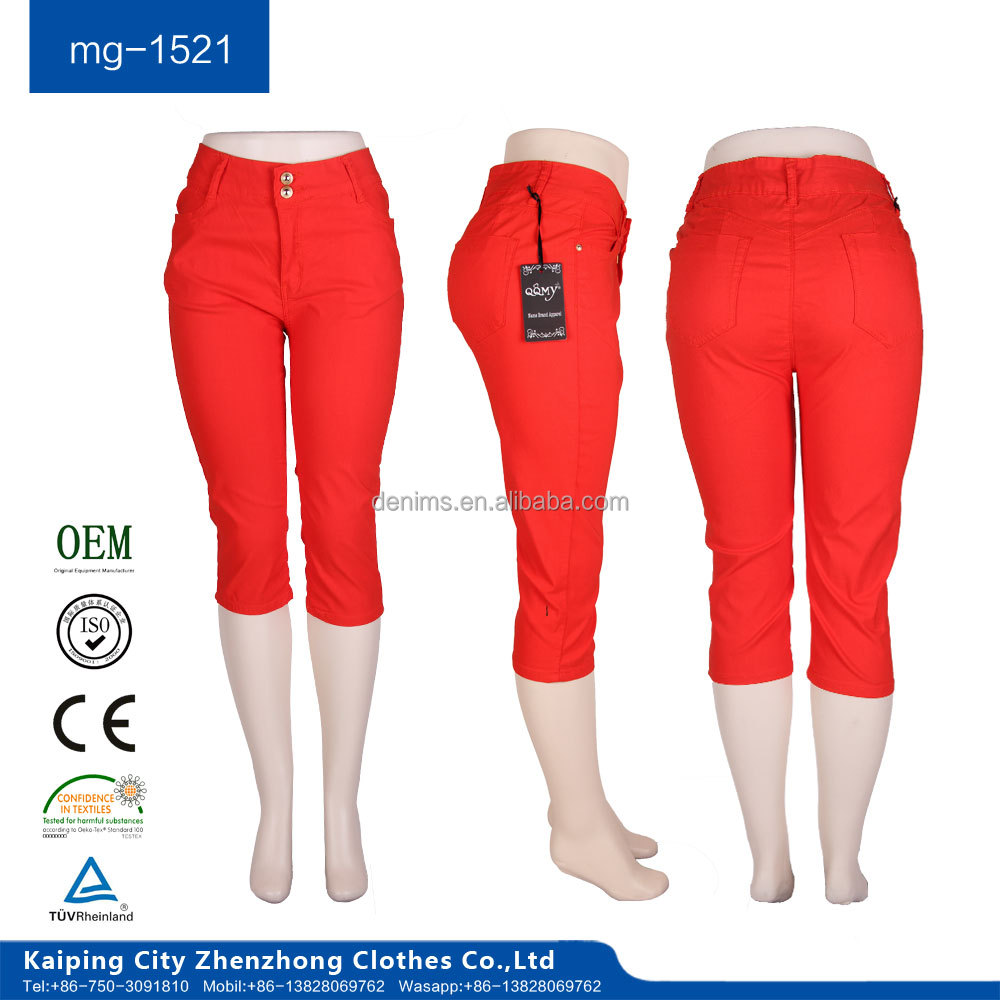 mg-1521 competitive price women red color capri half jeans pent