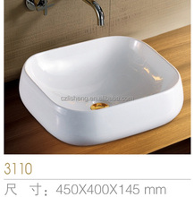 Simple generous square ceramic counter top art new model wash basin painted ceramic bathroom sinks