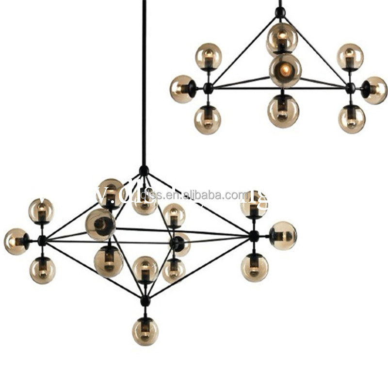 industrail big black color decorative led luxury project glass chandelier