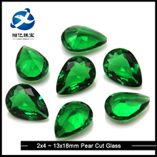 Wholesale Price Loose Gemstone Pear Shape Emerald Green Synthetic Glass Gems