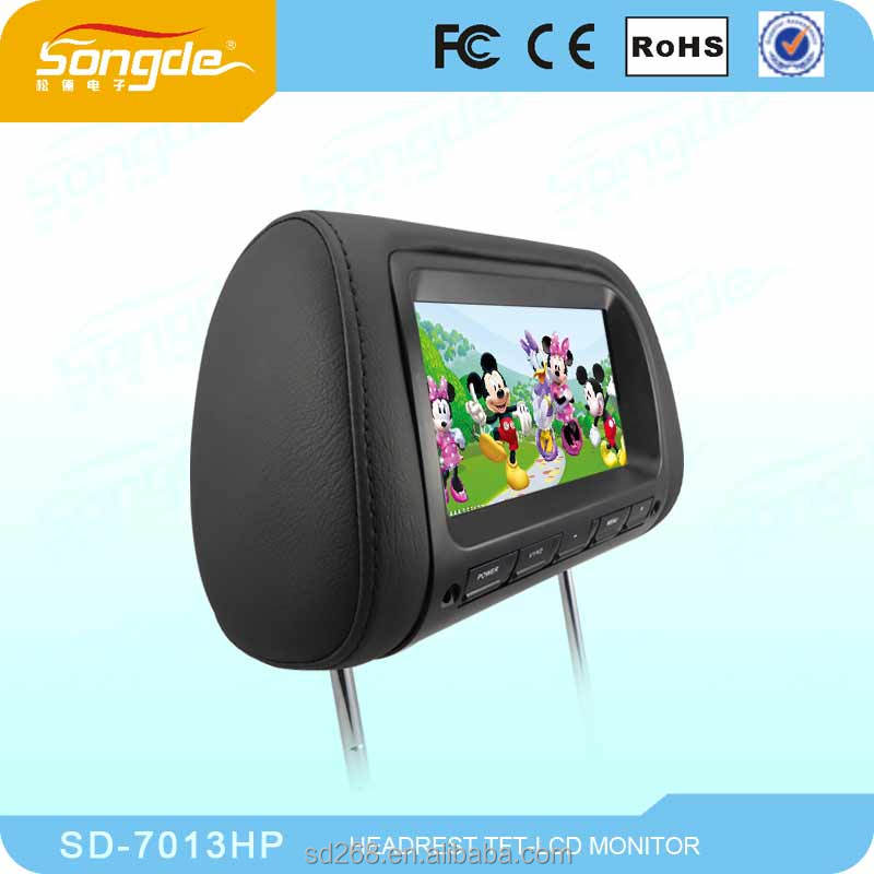 factory manufacturer body sensor 7 inch car pillow tft lcd monitor