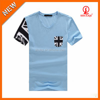 Deep v neck printing plain white mens t-shirts made in china